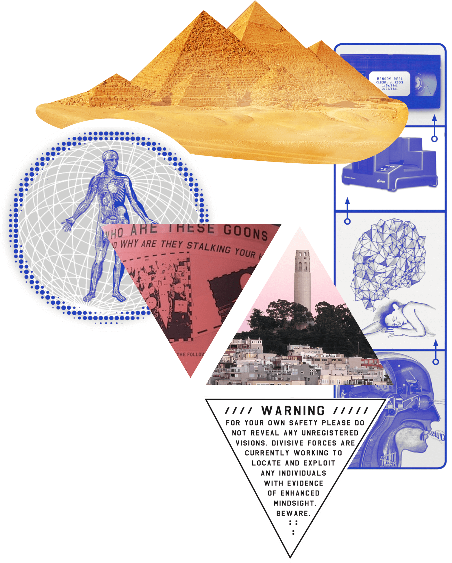 collage of pyramids and flyers