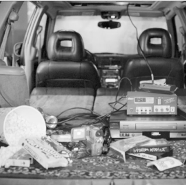 electronics in the back of a car
