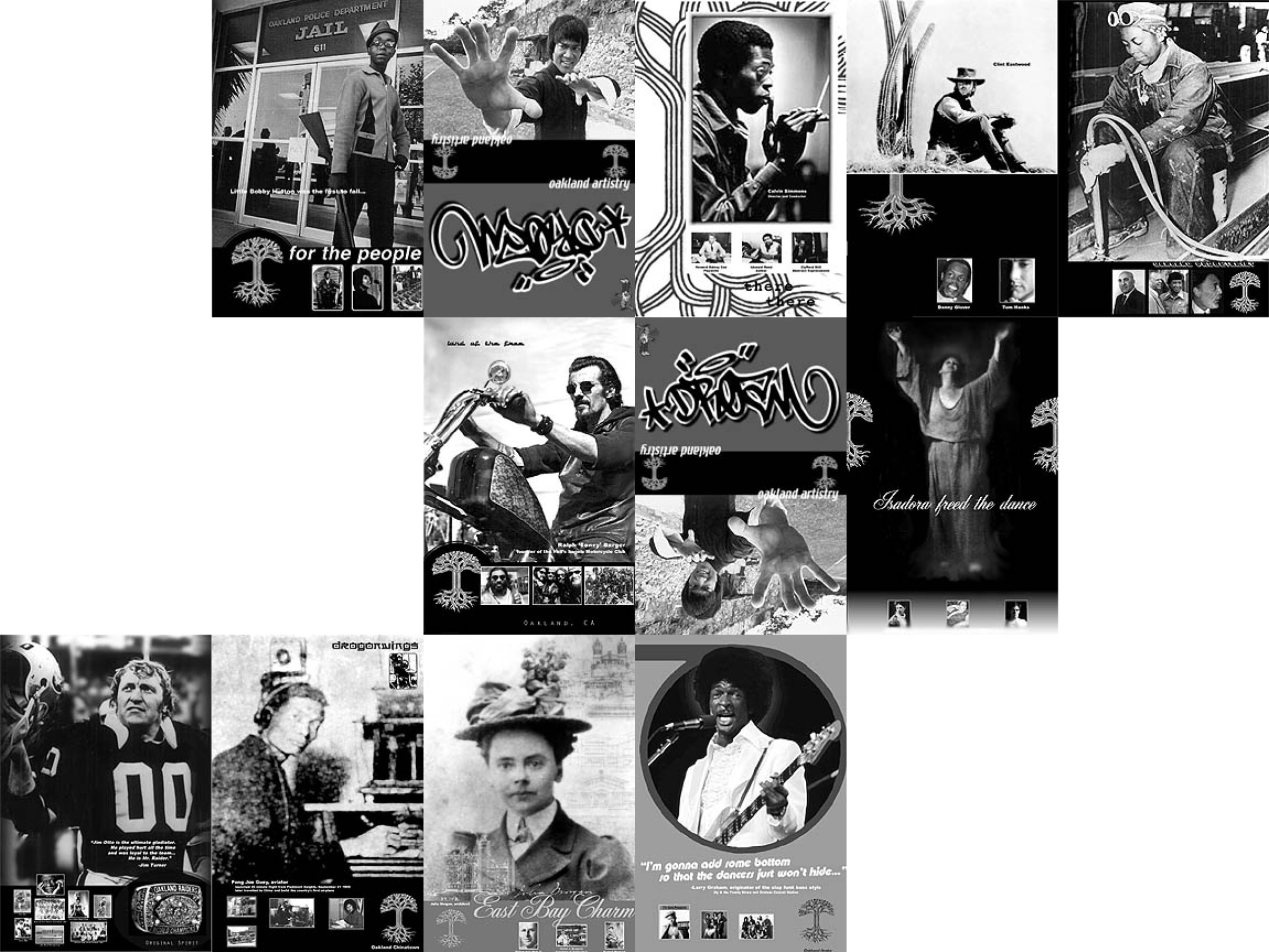twelve black and white posters of famous locals